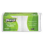 100% Recycled Lunch Napkins, 1-Ply, 12 1/2 x 11 2/5, White, 400/Pack
