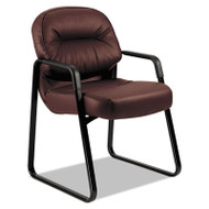 2090 Pillow-Soft Series Leather Guest Arm Chair, Burgundy