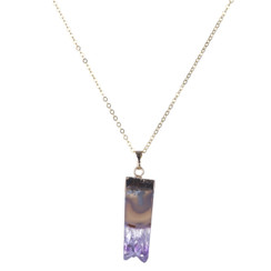 TREZO LAVI Raw Amethyst Vertical Necklace