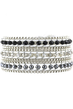 Trezo Black and White Wrap Bracelet