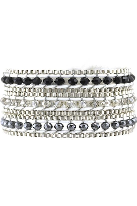 Trezo Black and White Wrap Bracelet