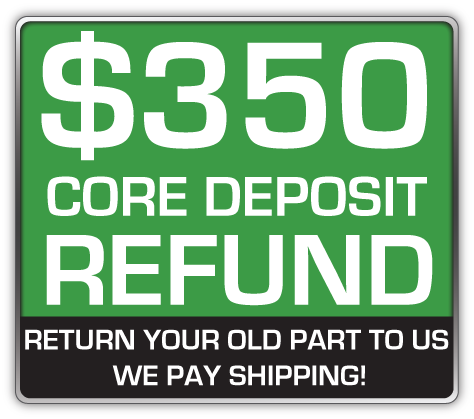 Core Deposit: THE SALES PRICE OF THIS ITEM INCLUDES A $350.00 REFUNDABLE CORE DEPOSIT. WE WILL REFUND $350.00 BACK TO YOU WHEN YOU RETURN YOUR OLD STRUTS TO US. (prepaid return label included Continental USA Only).