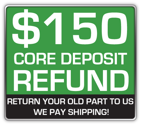 Core Deposit: THE SALES PRICE OF THIS ITEM INCLUDES A $150.00 REFUNDABLE CORE DEPOSIT. WE WILL REFUND $150.00 BACK TO YOU WHEN YOU RETURN YOUR OLD STRUTS TO US. (prepaid return label included Continental USA Only).