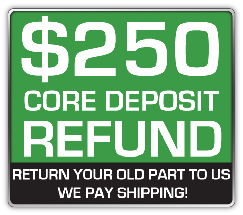 Core Deposit: THE SALES PRICE OF THIS ITEM INCLUDES A $250.00 REFUNDABLE CORE DEPOSIT. WE WILL REFUND $250.00 BACK TO YOU WHEN YOU RETURN YOUR OLD STRUTS TO US. (prepaid return label included Continental USA Only).