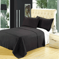 Luxury Black Checkered Quilted Wrinkle Free Microfiber 3 Piece Coverlets Set