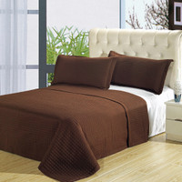Luxury Chocolate Brown Checkered Quilted Wrinkle Free Microfiber 3 Piece Coverlets Set