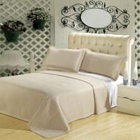 Luxury Linen (Beige) Checkered Quilted Wrinkle Free Microfiber 3 Piece Coverlets Set