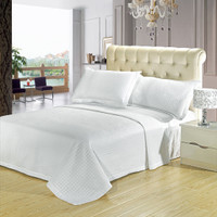 Luxury White Checkered Quilted Wrinkle Free Microfiber 3 Piece Coverlets Set