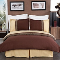 Astrid Gold & Chocolate Embroidered 3-Piece Duvet Cover Sets