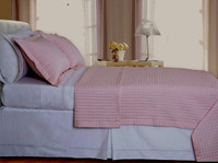 Blush/Pink Checkered Coverlet Set Egyptian cotton 400 Thread count