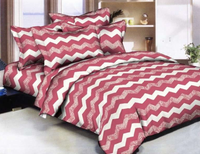 Lacy Chevron - Raspberry Bedding Set