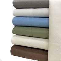 Cotton Blend Woven Dots 600 Thread Count Queen Sheet Set
