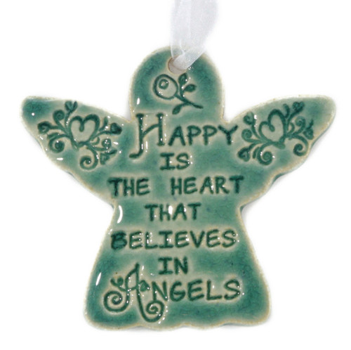 Happy Is The Heart That Believes In Angels. Handmade ceramic angelornament available in blue and green.