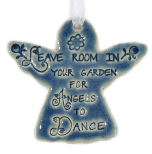 """Leave Room In Your Garden For Angels To Dance. Handmade ceramic angel ornament available in blue and green. Measures 4""""x4""""."""