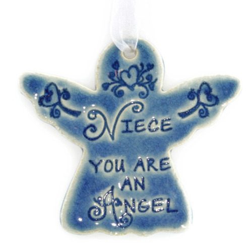"""Niece You Are An Angel. Handmade ceramic starfish available in blue and green. Measures 4""""x4""""."""