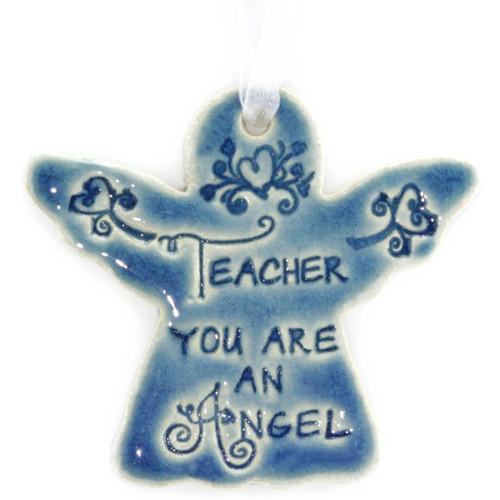 "Teacher You Are An Angel. Handmade ceramic starfish available in blue and green. Measures 4""x4""."