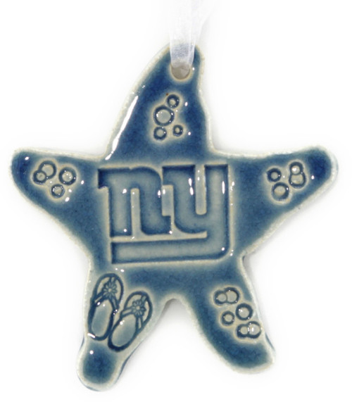 Handmade Ceramic New York Giants Football Team Starfish. Available in Blue only. Size is 4x4x.25 inches.