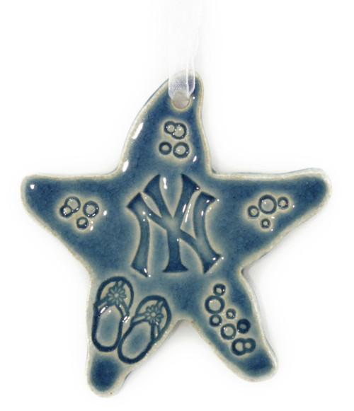 Handmade Ceramic New York Yankees Team Starfish. Available in Blue only. Size is 4x4x.25 inches.