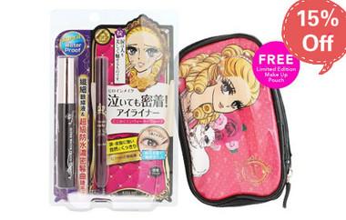 Kiss Me Volume & Curl Mascara & Smooth Liquid Eyeliner Set [Free Make Up Pouch]