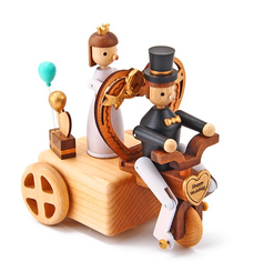 Handmade Wooden Wedding Tricycle Music Box