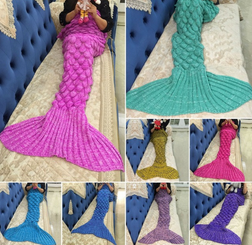 Mermaid Tail Blanket  Wool Colorful Blankets ( Free Shipping )
