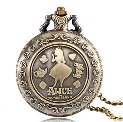 Alice in Wonderland Vintage Brass Pocket Watch Birthday Xmas Gifts