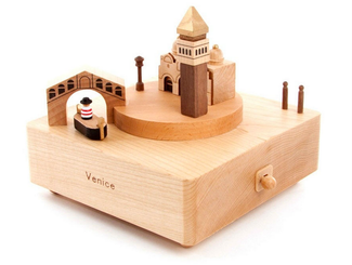 Handmade Wooden Venice Music Box