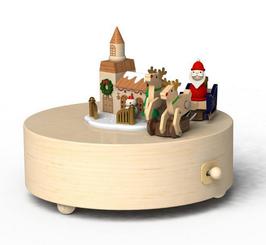 Handmade Wooden Santa Holiday Sleigh Music Box