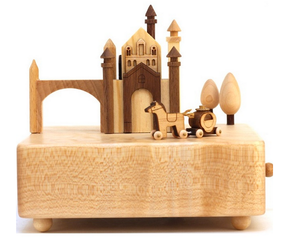 Handmade Wooden Castle and Carriage Moving Music Box