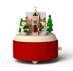 Handmade Wooden Angel And Snow House Music Box