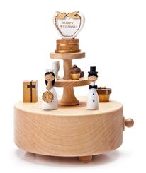 Handmade Wooden Wedding Cake Music Box
