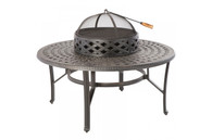 "Cobblestone 48"" Beverage Fire Pit Chat Table Cast Aluminum Antique Topaz"