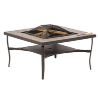 "Canyon 38"" Square Fire Pit table with Ceramic Tile Surround (Aluminum Frame Table with Iron Fire Bowl, Grate, Lift Tool, Iron Screen and Flat Iron Cover)"