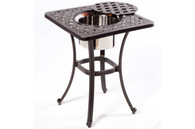 "Weave 21"" Square Beverage Cooler Side Table with Stainless Steel Bowl - Antique Topaz"