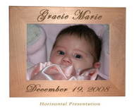 "Red Alder frame holds a 4x6"" photo and can be personalized on top and bottom with names and dates."