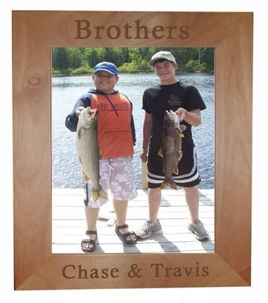"""Great picture frame for posting 4x6"""" photos of brotherly love! Can be engraved with any text you desire!"""