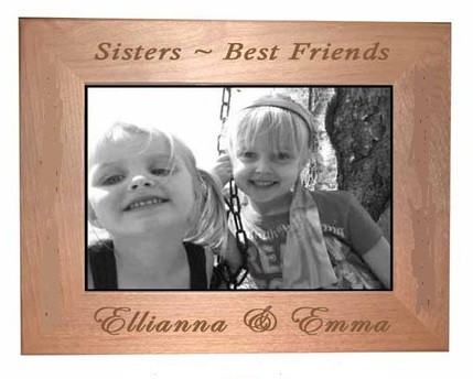 Sisters Picture Frame holds a 4x6 photo and can be displayed either horizontally or vertically.