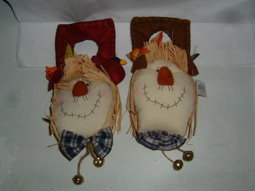 Hallmark scarecrow door knob hangers 2 thanksgiving fall for Hallmark fairy door