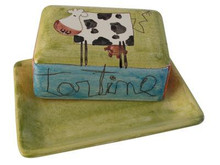 Sacha Butter Dish with Cow