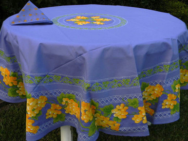 Grape tablecloth in blue