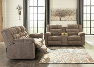 Workhorse Cocoa Reclining & Loveseat with Console