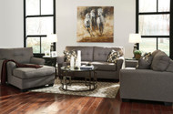 Tibbee Slate Sofa, Loveseat, Chaise & Frostine Table Set