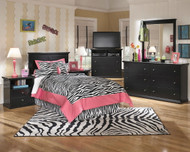 Maribel Black 3 Pc. Dresser, Mirror & Twin Panel Headboard