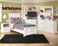 Bostwick Shoals White Dresser, Mirror, Twin Panel Bed & 2 Nightstands