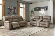 Dunwell Driftwood Power Reclining Sofa with Adjustable Headrest & Power Reclining Loveseat with CON/Adjustable Headrest