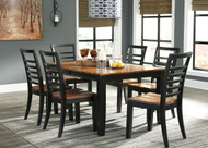 Quinley Two-tone Brown 7 Pc. Rectangular Dining Room Butterfly Extendable Table & 6 Side Chairs