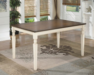 Whitesburg Brown with Cottage White Rectangular Dining Room Table