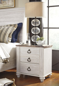 Willowton Two Drawer Nightstand- Whitewash