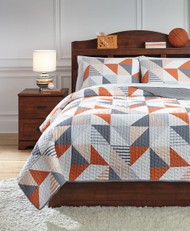 Layne Gray with Orange Full Coverlet Set