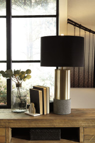 Jacek Gray with Brass Finish Metal Table Lamp